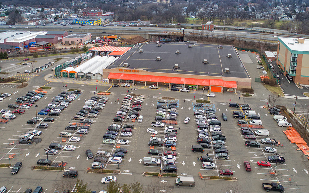 60 Orange Street Home Depot building and parking top view