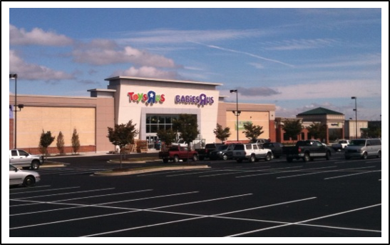 Dobbin Road Toys R Us building and parking front